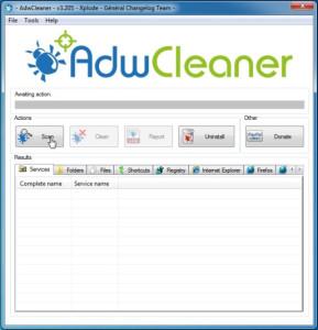 Удаляем кроссбраузер с помощью программы adwcleaner