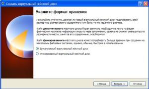 virtualbox устанавливаем формат хранения