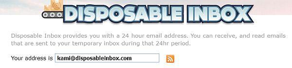 Регистрация временного почтового ящика на disposableinbox