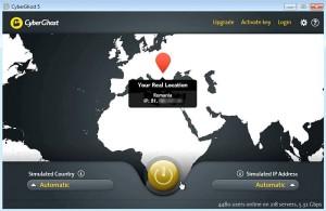 Главное окно программы CyberGhost