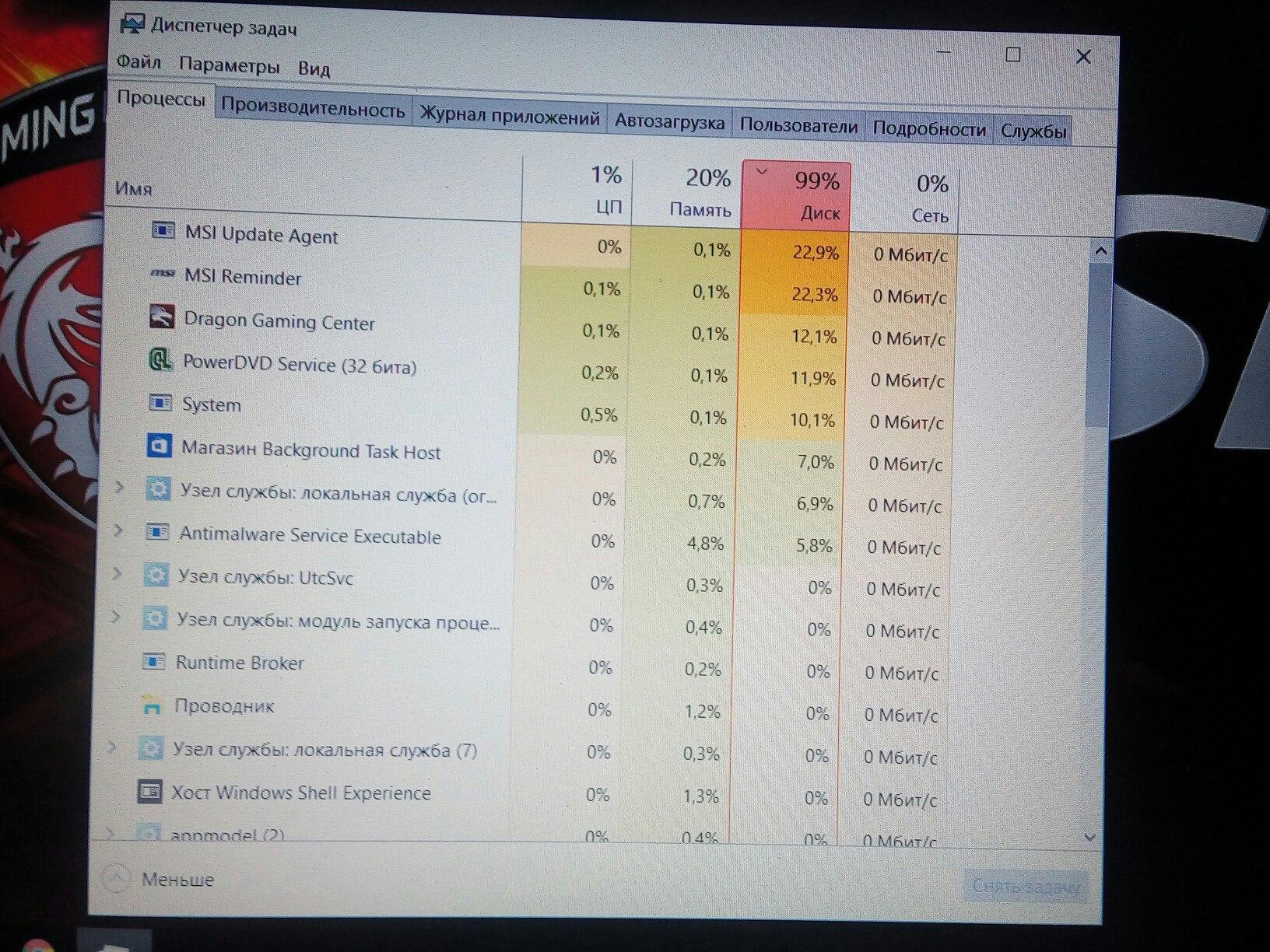 Почему в windows 10 диск загружен на 100